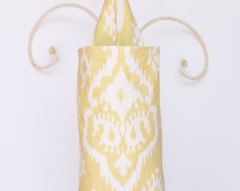 Fabric Cloth Plastic Grocery Bag Holder Raji Macon Saffron Yellow