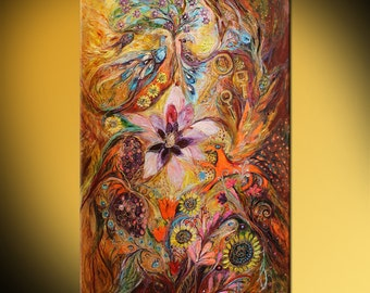 """Mixed Media & Collage Jewish art acrylic textured painting """"Spirit of Garden"""". Large Wall hanging interior design hand painted giclee print"""