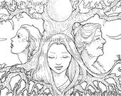Mother, Maiden, Crone Digi Stamp Digital Coloring Page - for scrapbooking or cards or coloring