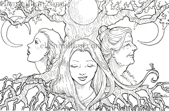 Mother Maiden Crone Digi Stamp Digital Coloring Page For