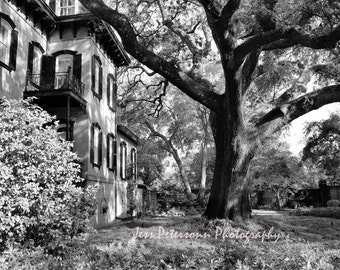Historic Savannah Photos. Old house photography. Striking Halloween wall decor. Black & White wall art. 5x7, 8x10, 5x7 matted to 8x10, 11x14