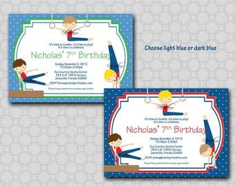 Boys Gymnastics Birthday Party Invitation -  Boy Gymnasts- printable party - Digital