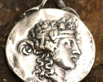 Rustic Sterling Silver Greek Goddess of Nature Medal Coin Pendant