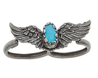 Double Ring Wings and Sleeping Beauty Faceted Turquoise Ring