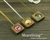 3 Sets 38mm Square Wooden Pendant Necklace With 25mm Setting / Tray