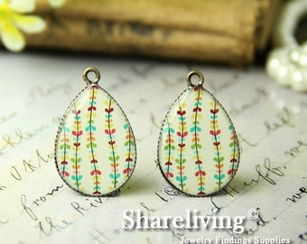 4pcs 18x25mm Handmade Photo Teardrop Resin Charm / Glass Cabs Cabochons -- RP707D