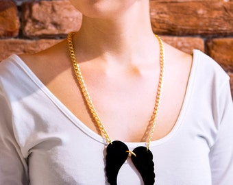 Jr Dark Angel Wings Necklace,Plexiglass Jewelry,Angel Jewelry,Gifts Under 25