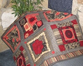 Quilted Lap or Sofa Blanket Patchwork Look Japanese Asian Design Black and Red