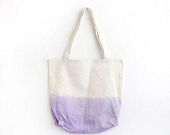 Lilac dip dye cotton tote II