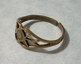 Adjustable Filigree Ring Oxidized Brass
