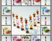Miniature Butterfly Glass Bottle Pendants, Charms, Collectable's
