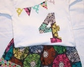 Girls 4th Birthday Outfit Number 4 bunting shirt and matching skirt - Size 4 short sleeve tshirt - pink green aqua gray