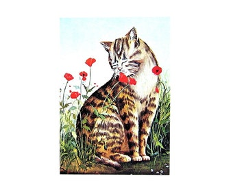 Cat Print - Ah The Fragrance, Cat Smelling Flowers - 1985 Vintage Book Page - 9 x 12