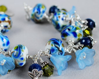Bluebells Lampwork, Crystal, Sterling and Flower Bracelet - Blue Bracelet - Artisan Lampwork Bracelet