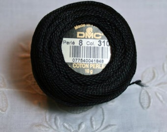 DMC Pearl / Perle Cotton Thread Balls Size 8 Black 310