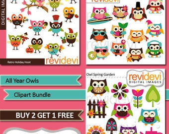 Clipart All Year Owls / Clip art Bundle / Holidays owls, four seasons owls