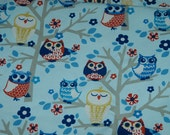 Fabric High Chair-Blue and Red Owls