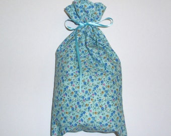Blue Floral Gift Bags - 4 Reusable Eco-Friendly Cotton Fabric