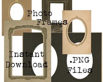 Vintage Heritage Photo Frames Digital Images .PnG files - Digital Scrapbooking - Heritage Scrapbooking  - INSTANT DOWNLOAD