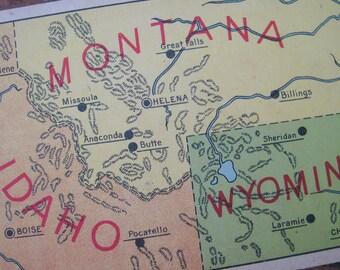 Vintage United States Geography Flash Card - Montana, Idaho, & Wyoming