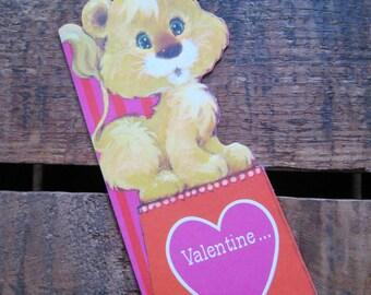 Vintage Die Cut Lion Valentine Card - For Children - Unused - Unused Valentines, Vintage Valentines