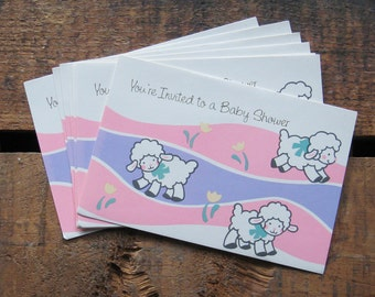 Vintage Baby Shower Invitations - Set of 12 - Baby Girl, For Girl