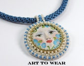 Pendant Necklace Boho Face Necklace Goddess Jewelry Kumihimo Necklace Handmade Jewelry Hand Painted Face Necklace Blue Flower Necklace