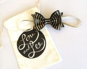 Baby bow headband with Black and Gold striped leather headband