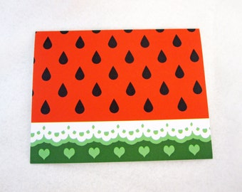 Blank Kawaii Watermelon and Lace Note Card
