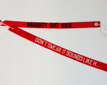 Vintage Sign Banners, Felt Word Banners, Set of 2, Naughty but Nice!