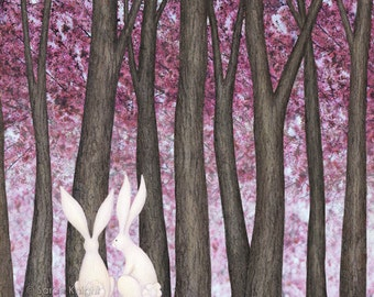 spring blossom bunnies - signed digital illustration art print 8X10 inches, white bunny rabbits brown trees pink flowers petals easter