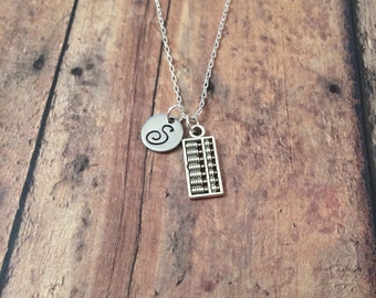 Abacus initial necklace - abacus jewelry, accountant necklace, gift for math teacher, silver abacus necklace, teacher jewelry, math jewelry