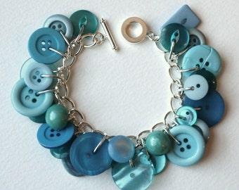 Button Bracelet Ocean Of Aqua Blue