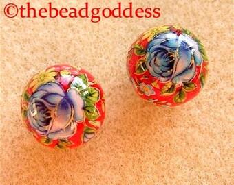 New Pair Beautiful Japanese Tensha Beads Blue Rose Red 12mm