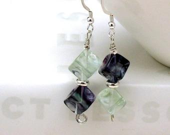 Fluorite Gemstone Modern Dangle Earrings, Geometric Cube Sterling Silver Drop Earrings, for Her Under 75