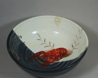 BLUE and white lobster pottery ceramic serving bowl, handmade and ready to ship  B24