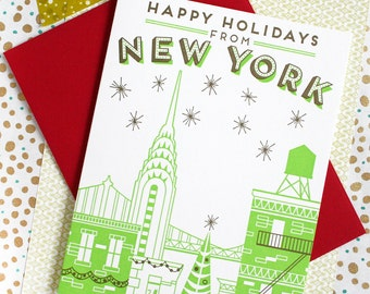 Happy Holidays from New York City Letterpress Printed Card