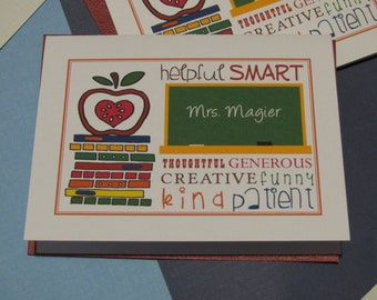 Personalized, Custom, Teacher Appreciation, Thank You Card, 100% recycled cardstock