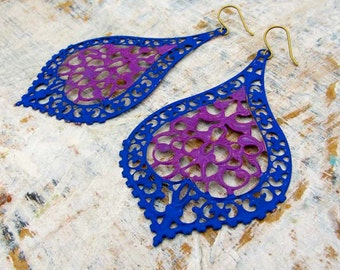 Bohemian earrings Blue purple big earrings filigree Gypsy earrings Boho jewelry
