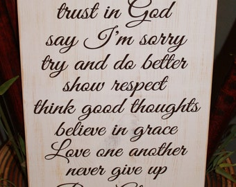 In this House we, trust in God,believe in grace, Love one another, Pray Always - Family Rules - Subway Art - sign - Style HM45