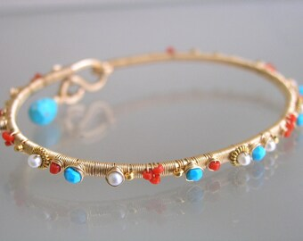 Turquoise Gold Filled Bangle, Vintage Coral Stackable Wire Wrapped Bracelet, Beach Bangle, Pearls, Classic, Original Design, Made to Order