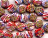 Red, Yellow, Green, Blue and White Vintage Millefiore Beads (12)