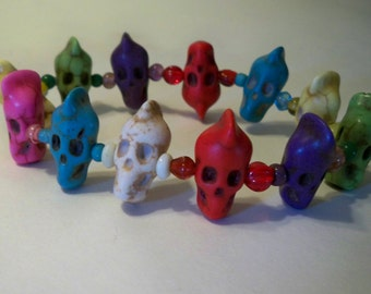 Stone Skull Bead Bracelet in Many Colors on Stretch Cord