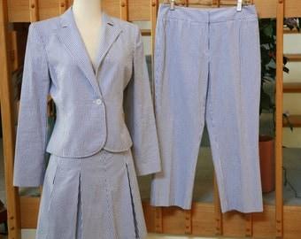 Three Piece Blue and White Cotton Seersucker Summer Suit Petite Size