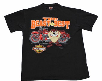 Vintage 1993 Harley Davidson Taz Looney Tunes Shirt Mens Size Large (Slim Fit)