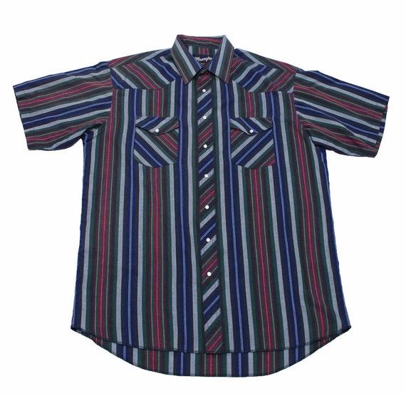 Vintage 90s wrangler striped button up short sleeve shirt mens for Striped button up shirt mens