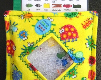 I Spy Bag - Mini with SEWN Word List and Detachable PICTURE LIST - Creepy Crawling Bugs