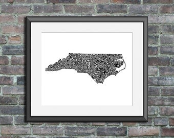 North Carolina typography map art print 8x10 personalized custom state poster wall decor engagement wedding housewarming gift