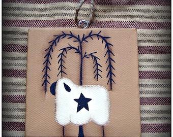 Primitive Sheep Willow Tree Mini Canvas Ornament Hang Tag Basket Tie