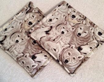 Wolf Print Potholders set of 2